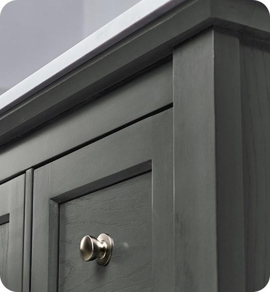 "Fresca Manchester Regal 36"" Gray Wood Veneer Traditional Bathroom Cabinet w/ Top & Sink 