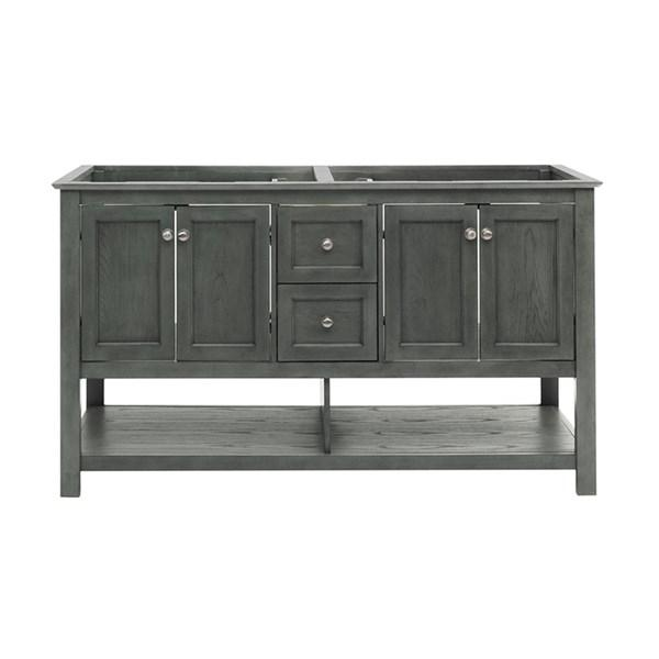 "Fresca Manchester Regal 60"" Gray Wood Veneer Traditional Double Sink Bathroom Cabinet 