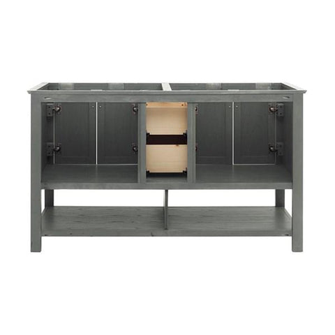 "Image of Fresca Manchester Regal 60"" Gray Wood Veneer Traditional Double Sink Bathroom Cabinet 