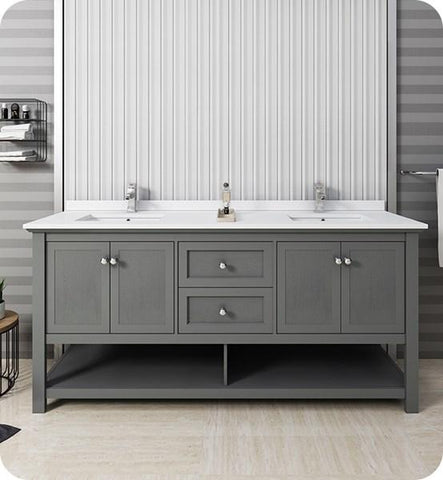 "Image of Fresca Manchester Regal 72"" Gray Wood Veneer Traditional Double Sink Bathroom Cabinet w/ Top & Sinks 