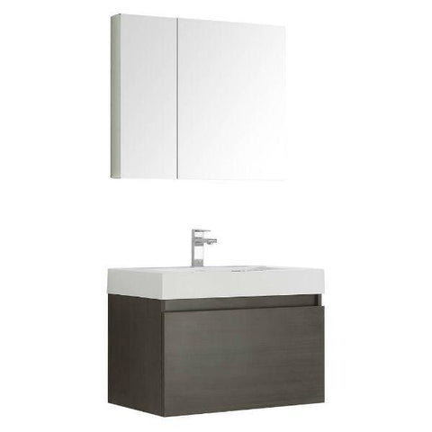 "Image of Fresca Mezzo 30"" Gray Oak Modern Bathroom Vanity with Cabinet FVN8007 FVN8007GO-FFT1030BN"