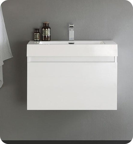"Image of Fresca Mezzo 30"" White Wall Hung Modern Bathroom Cabinet w/ Integrated Sink 
