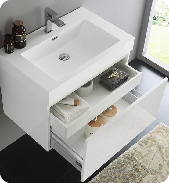 "Fresca Mezzo 30"" White Wall Hung Modern Bathroom Cabinet w/ Integrated Sink 