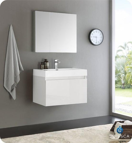 "Image of Fresca Mezzo 30"" White Wall Hung Modern Bathroom Vanity w/ Medicine Cabinet 