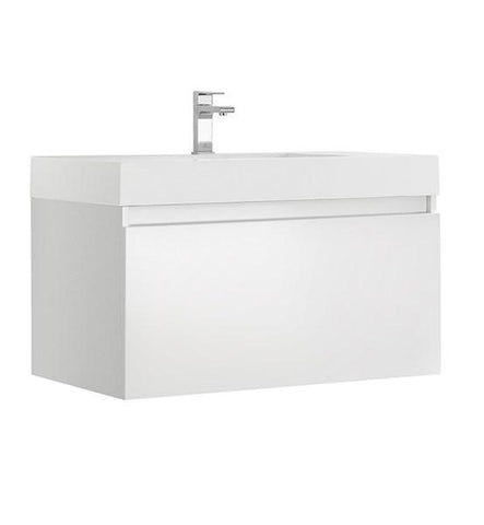 "Image of Fresca Mezzo 36"" White Wall Hung Modern Bathroom Cabinet w/ Integrated Sink 