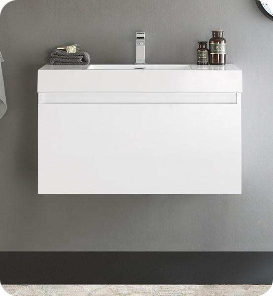 "Fresca Mezzo 36"" White Wall Hung Modern Bathroom Cabinet w/ Integrated Sink 
