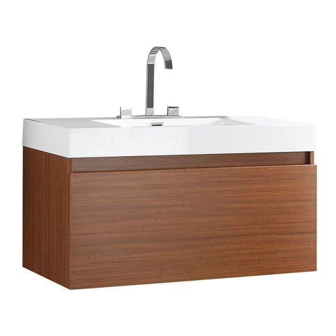 "Image of Fresca Mezzo 39"" Teak Modern Bathroom Cabinet w/ Integrated Sink FCB8010TK-I"