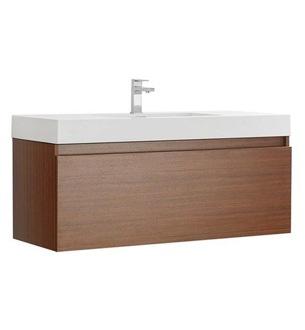"Image of Fresca Mezzo 48"" Teak Wall Hung Modern Bathroom Cabinet w/ Integrated Sink 