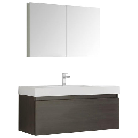 "Image of Fresca Mezzo 48"" Wall Hung Bathroom Vanity FVN8011BW-FFT1030BN"