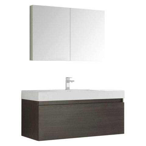 "Image of Fresca Mezzo 48"" Wall Hung Bathroom Vanity FVN8011GO-FFT1030BN"
