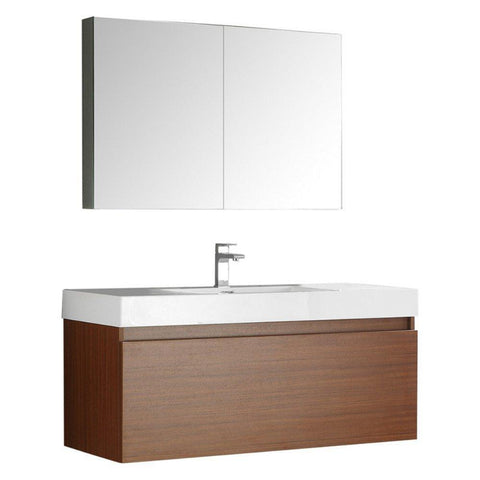 "Image of Fresca Mezzo 48"" Wall Hung Bathroom Vanity FVN8011TK-FFT1030BN"