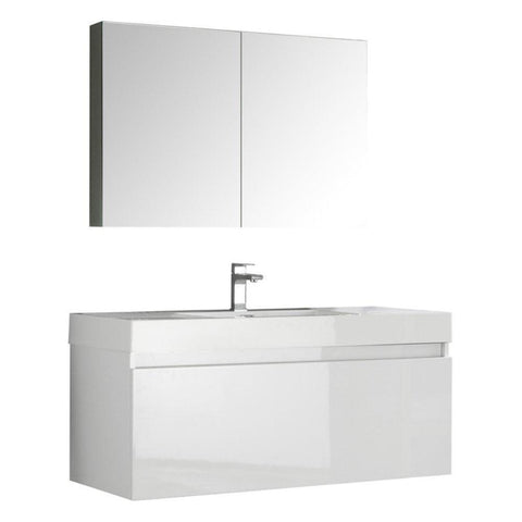"Image of Fresca Mezzo 48"" Wall Hung Bathroom Vanity FVN8011WH-FFT1030BN"