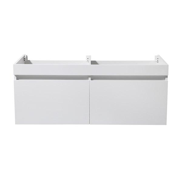"Fresca Mezzo 48"" White Wall Hung Double Sink Modern Bathroom Cabinet 
