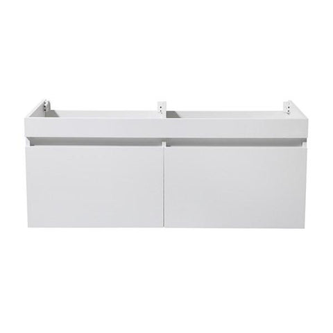"Image of Fresca Mezzo 48"" White Wall Hung Double Sink Modern Bathroom Cabinet 
