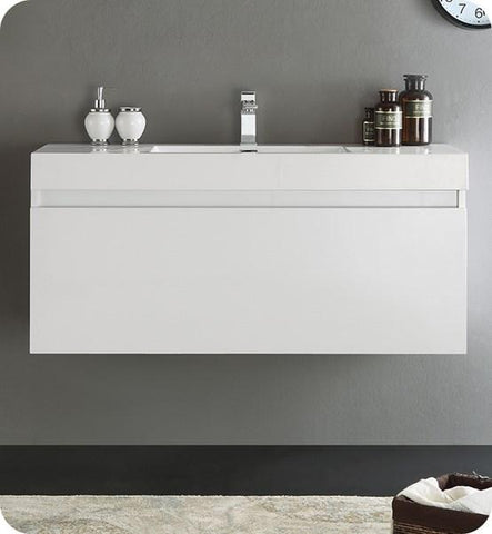 "Image of Fresca Mezzo 48"" White Wall Hung Modern Bathroom Cabinet w/ Integrated Sink 
