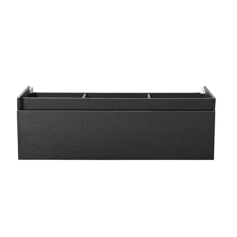 "Image of Fresca Mezzo 60"" Black Wall Hung Single Sink Modern Bathroom Cabinet 