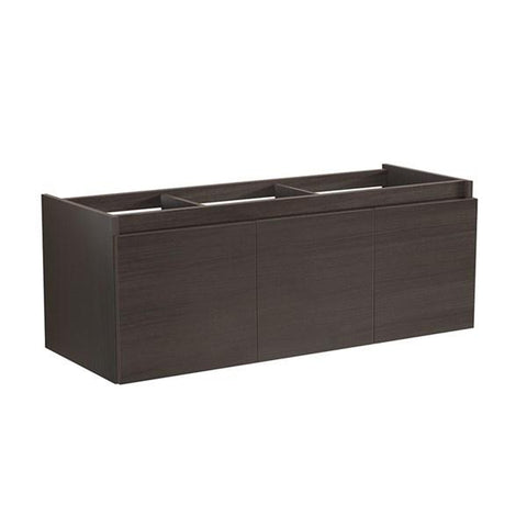 "Image of Fresca Mezzo 60"" Gray Oak Wall Hung Single Sink Modern Bathroom Cabinet 