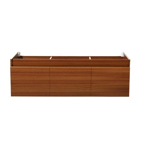 "Image of Fresca Mezzo 60"" Teak Wall Hung Single Sink Modern Bathroom Cabinet 