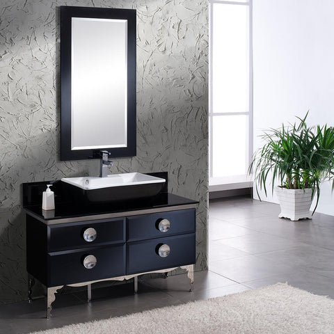 "Image of Fresca Moselle 47"" Modern Glass Bathroom Vanity FVN7714BL-FFT1030BN"