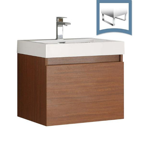 "Fresca Nano 24"" Teak Modern Bathroom Cabinet w/ Integrated Sink FCB8006TK-I"
