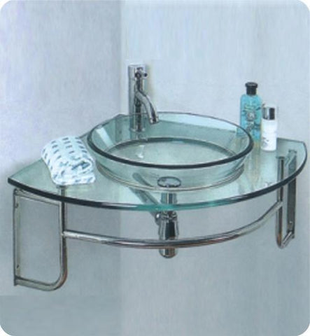 "Image of Fresca Ordinato 24"" Corner Mount Glass Bathroom Vanity FVN1040-FFT1030BN"