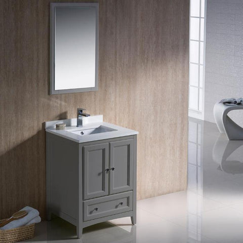 "Fresca Oxford 24"" Gray Traditional Bathroom Vanity with Faucet FVN2024GR"