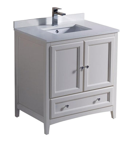 "Image of Fresca Oxford 30"" Antique White Traditional Bathroom Cabinet w/ Top & Sink FCB2030AW-CWH-U"