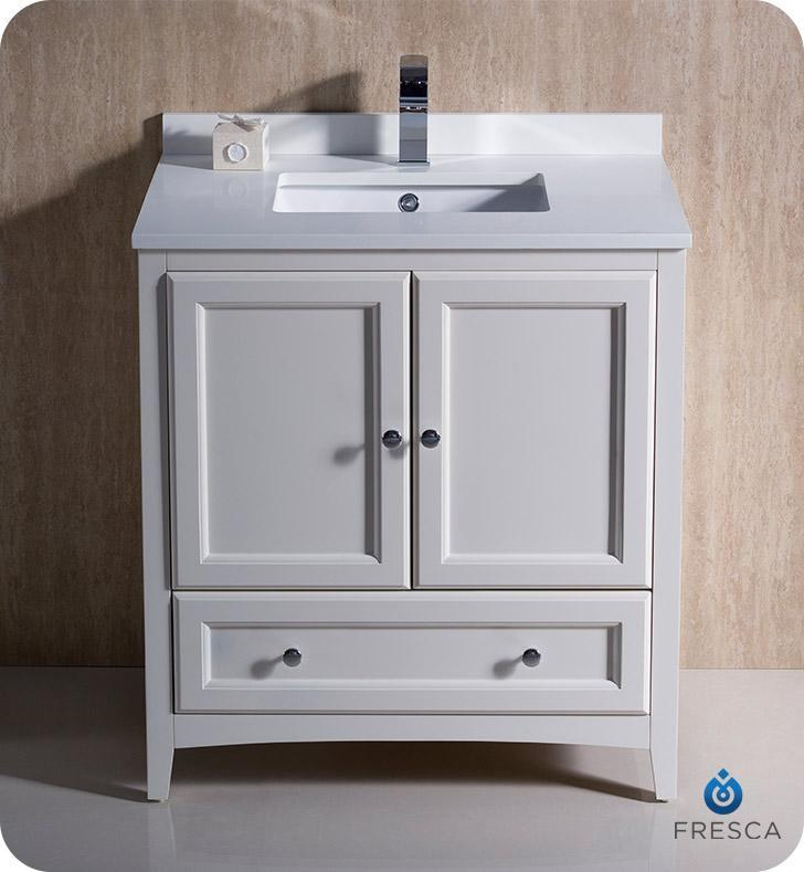 "Fresca Oxford 30"" Antique White Traditional Bathroom Cabinet w/ Top & Sink FCB2030AW-CWH-U"