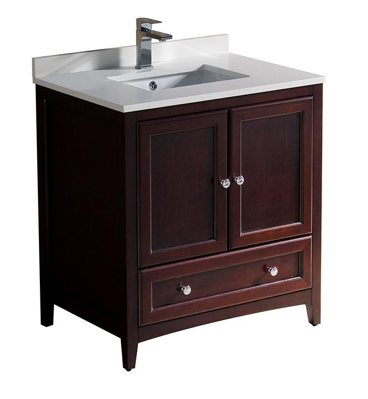 "Fresca Oxford 30"" Mahogany Traditional Bathroom Cabinet w/ Top & Sink FCB2030MH-CWH-U"