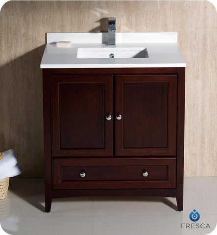 "Image of Fresca Oxford 30"" Mahogany Traditional Bathroom Cabinet w/ Top & Sink FCB2030MH-CWH-U"