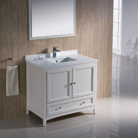 "Image of Fresca Oxford 36"" Antique White Traditional Single Bathroom Vanity FVN2036 FVN2036AW-FFT1030BN"
