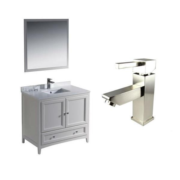"Fresca Oxford 36"" Antique White Traditional Single Bathroom Vanity FVN2036 FVN2036AW-FFT1030BN"