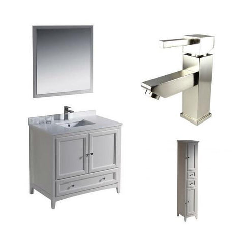 "Image of Fresca Oxford 36"" Antique White Traditional Single Bathroom Vanity FVN2036 FVN2036AW-FFT1030BN-FST2060AW"