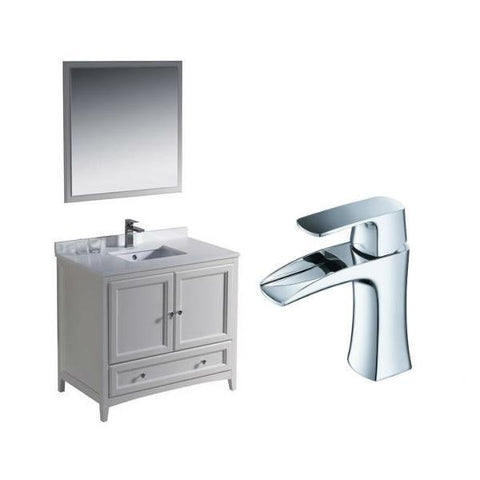 "Image of Fresca Oxford 36"" Antique White Traditional Single Bathroom Vanity FVN2036 FVN2036AW-FFT3071CH"