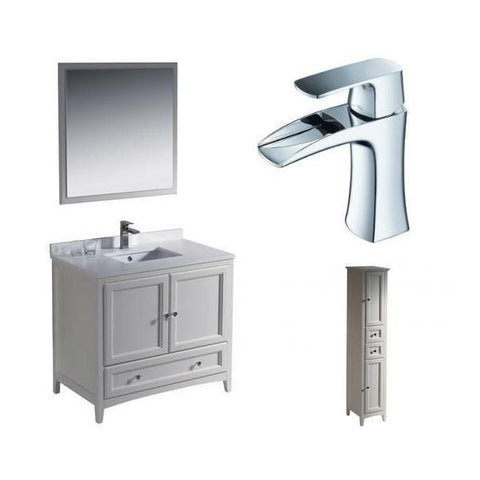 "Image of Fresca Oxford 36"" Antique White Traditional Single Bathroom Vanity FVN2036 FVN2036AW-FFT3071CH-FST2060AW"