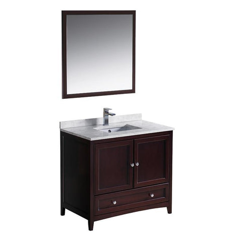 "Image of Fresca Oxford 36"" Mahogany Traditional Single Bathroom Vanity FVN2036MH"