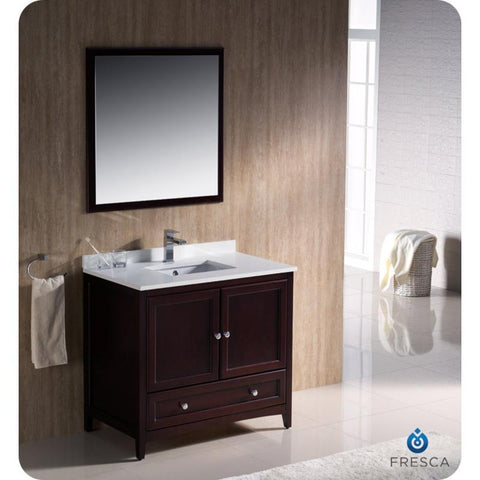 "Fresca Oxford 36"" Mahogany Traditional Single Bathroom Vanity FVN2036MH"