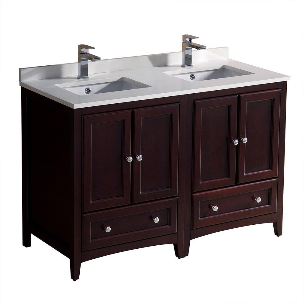 "Fresca Oxford 48"" Mahogany Traditional Double Sink Bathroom Cabinets w/ Tops FCB20-2424MH-CWH-U"