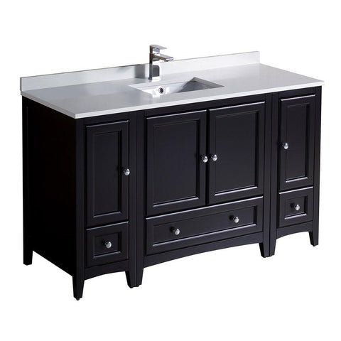 "Image of Fresca Oxford 54"" Espresso Traditional Bathroom Cabinets w/ Top & Sink FCB20-123012ES-CWH-U"
