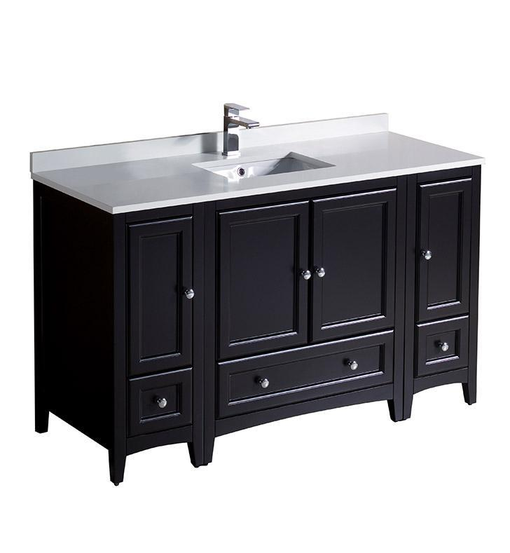 "Fresca Oxford 54"" Espresso Traditional Bathroom Cabinets w/ Top & Sink FCB20-123012ES-CWH-U"