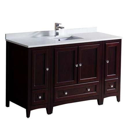 "Image of Fresca Oxford 54"" Mahogany Traditional Bathroom Cabinets w/ Top & Sink FCB20-123012MH-CWH-U"