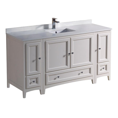 "Image of Fresca Oxford 60"" Antique White Traditional Bathroom Cabinets w/ Top & Sink FCB20-123612AW-CWH-U"