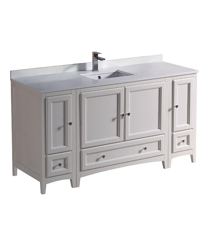 "Fresca Oxford 60"" Antique White Traditional Bathroom Cabinets w/ Top & Sink FCB20-123612AW-CWH-U"