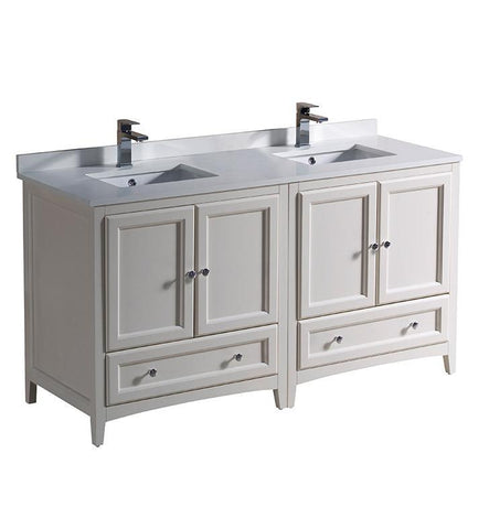 "Image of Fresca Oxford 60"" Antique White Traditional Double Sink Bathroom Cabinets FCB20-3030AW-CWH-U"