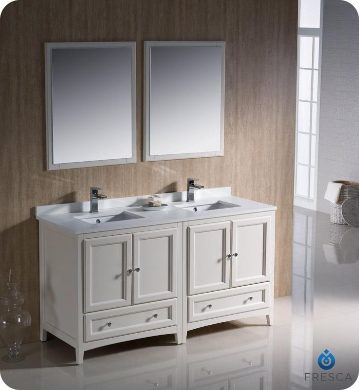 "Fresca Oxford 60"" Double Sink Vanity FVN20-3030AW-FFT1030BN"