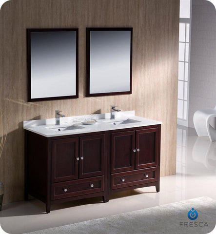 "Image of Fresca Oxford 60"" Double Sink Vanity FVN20-3030AW-FFT1030BN"