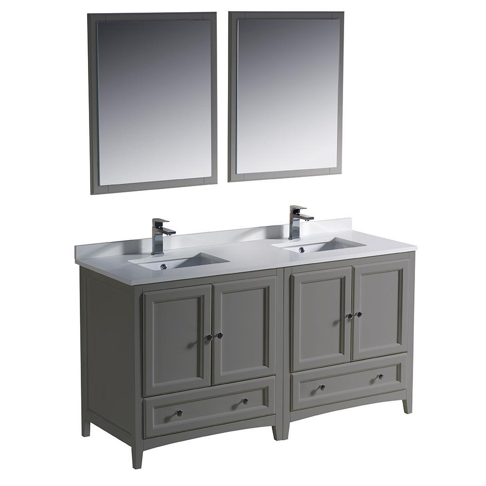 "Fresca Oxford 60"" Double Sink Vanity FVN20-3030GR-FFT1030BN"
