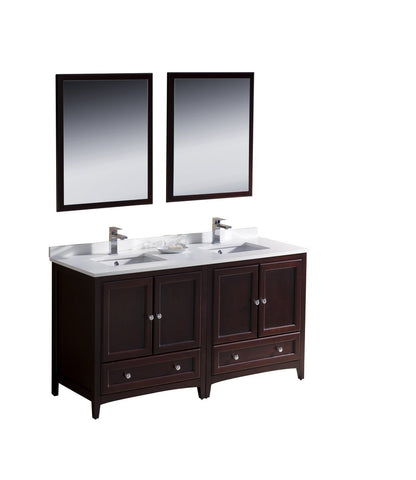 "Image of Fresca Oxford 60"" Double Sink Vanity FVN20-3030MH-FFT1030BN"