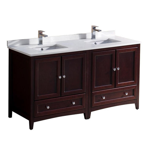 "Image of Fresca Oxford 60"" Mahogany Traditional Double Sink Bathroom Cabinets FCB20-3030MH-CWH-U"