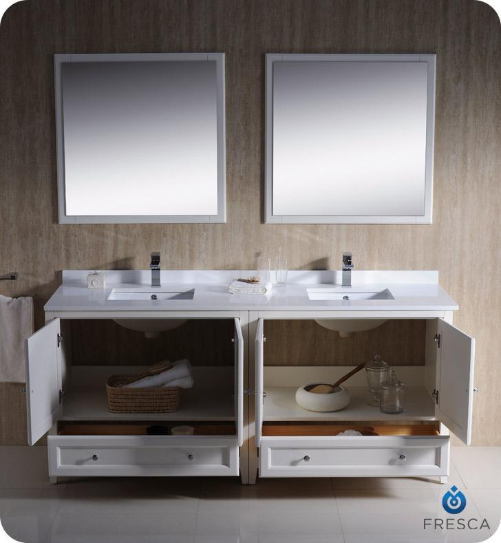 "Fresca Oxford 72"" Double Sink Vanity FVN20-3636AW-FFT1030BN"